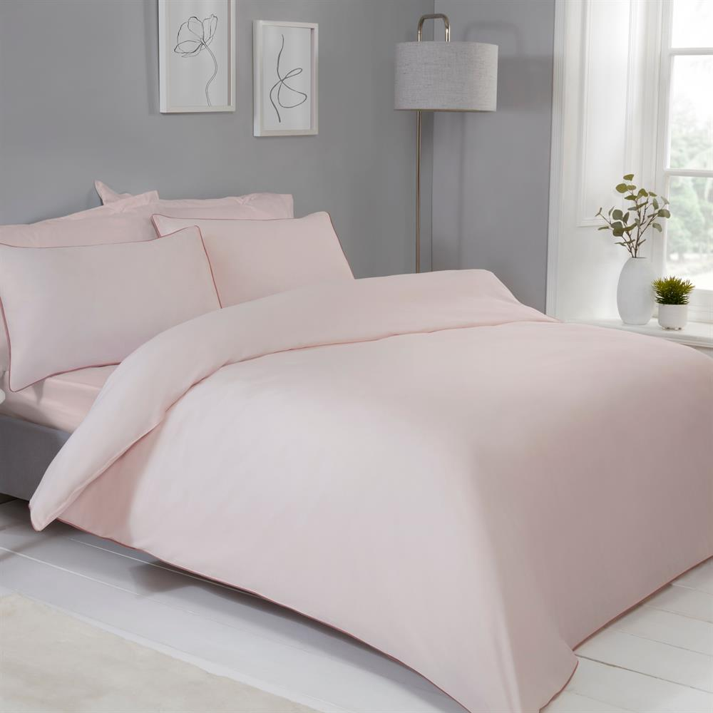 Picture of Sleepdown Contrast Piped Blush Pink Reversible Duvet Set