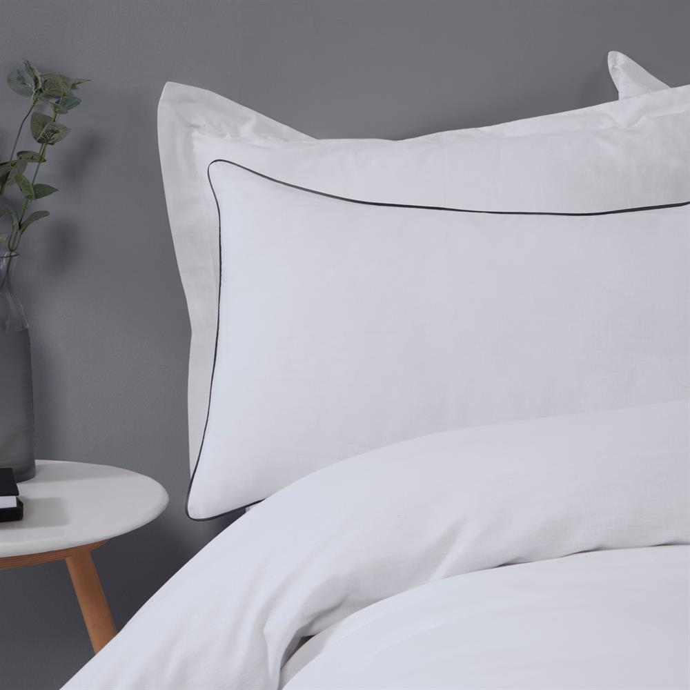 Picture of Sleepdown Contrast Piped White/Black Reversible Duvet Set