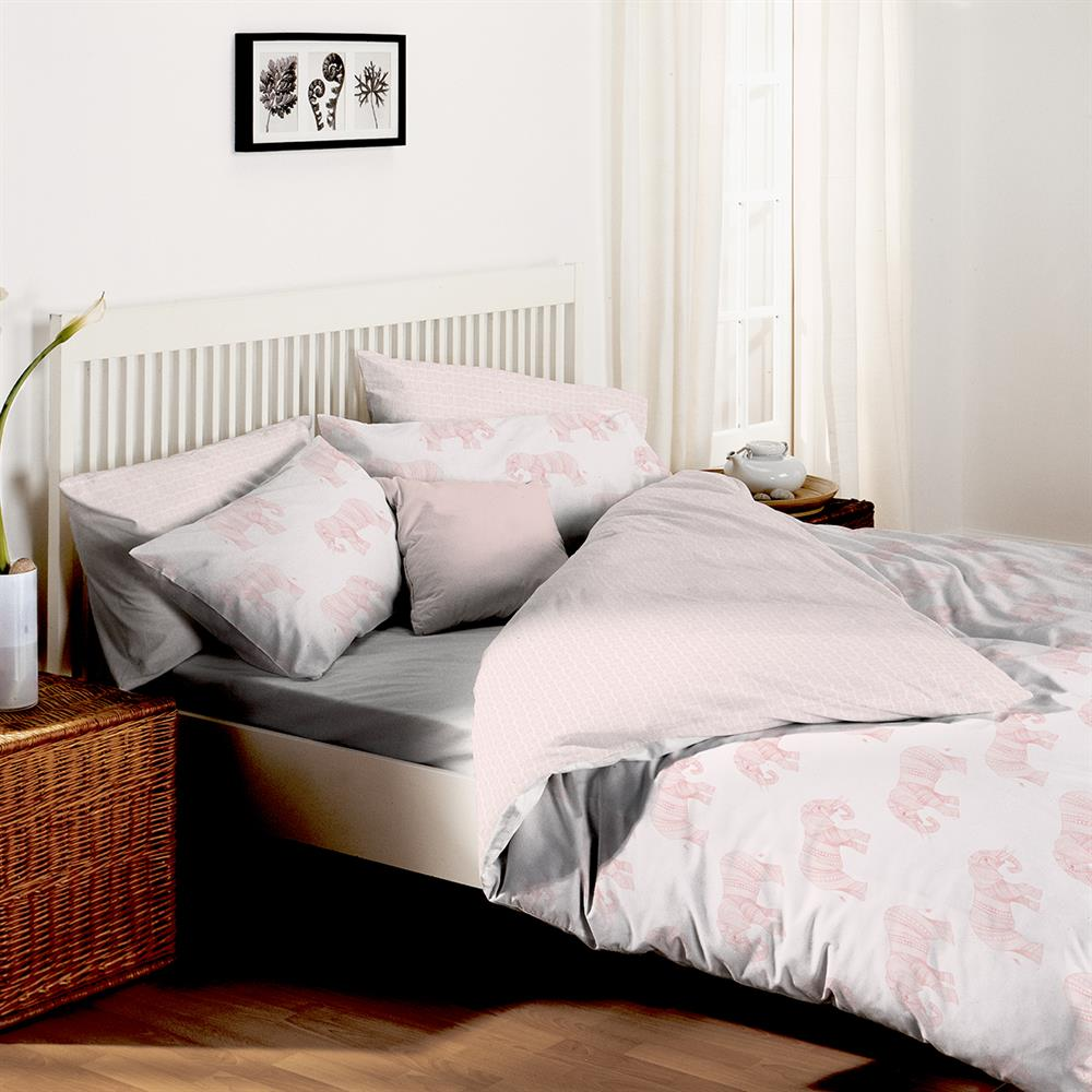 Picture of Home Collections: Elephant Pom Pom Duvet Set - Pink