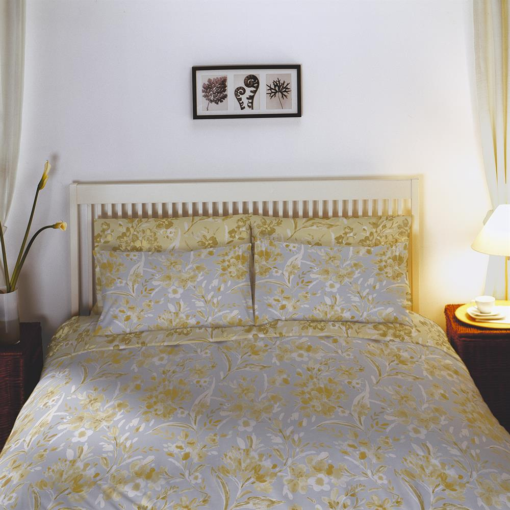 Picture of Home Collections: Flowers Non-Iron Duvet Set - Ochre
