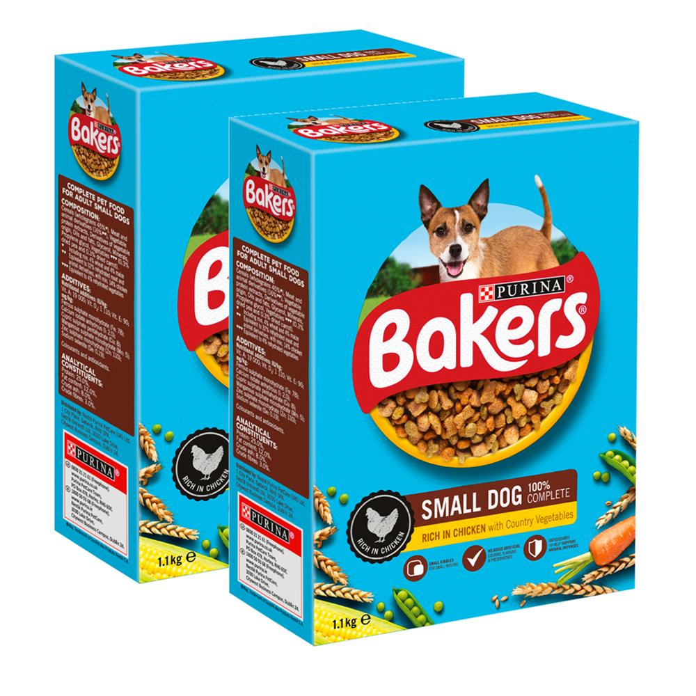 Picture of Bakers: Small Dog Chicken with Vegs Dry Dog Food (2 x 1.1kg)