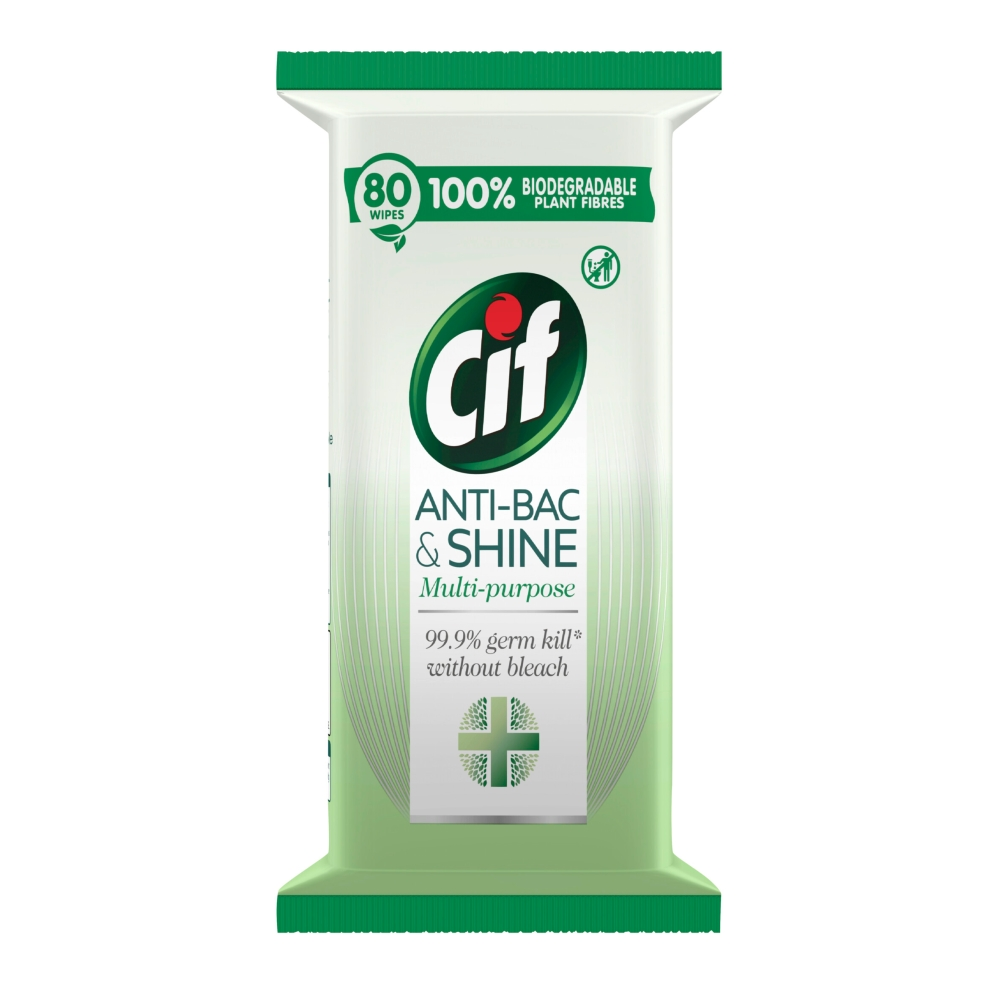 Picture of Cif Antibac & Shine Multipurpose Biodegradable Disinfectant Wipes (6 x 80 Wipes)