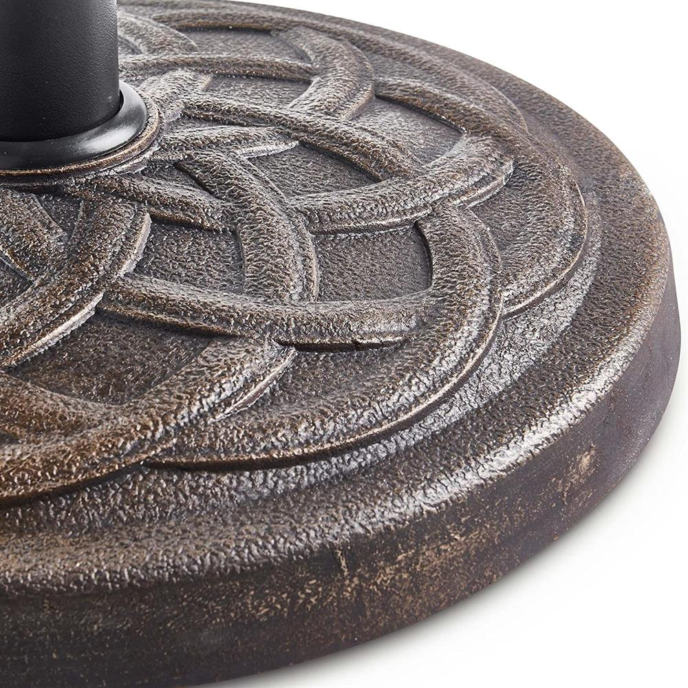 Picture of VonHaus Round Heavy Duty 9kg Patterned Parasol Base: Brushed Bronze