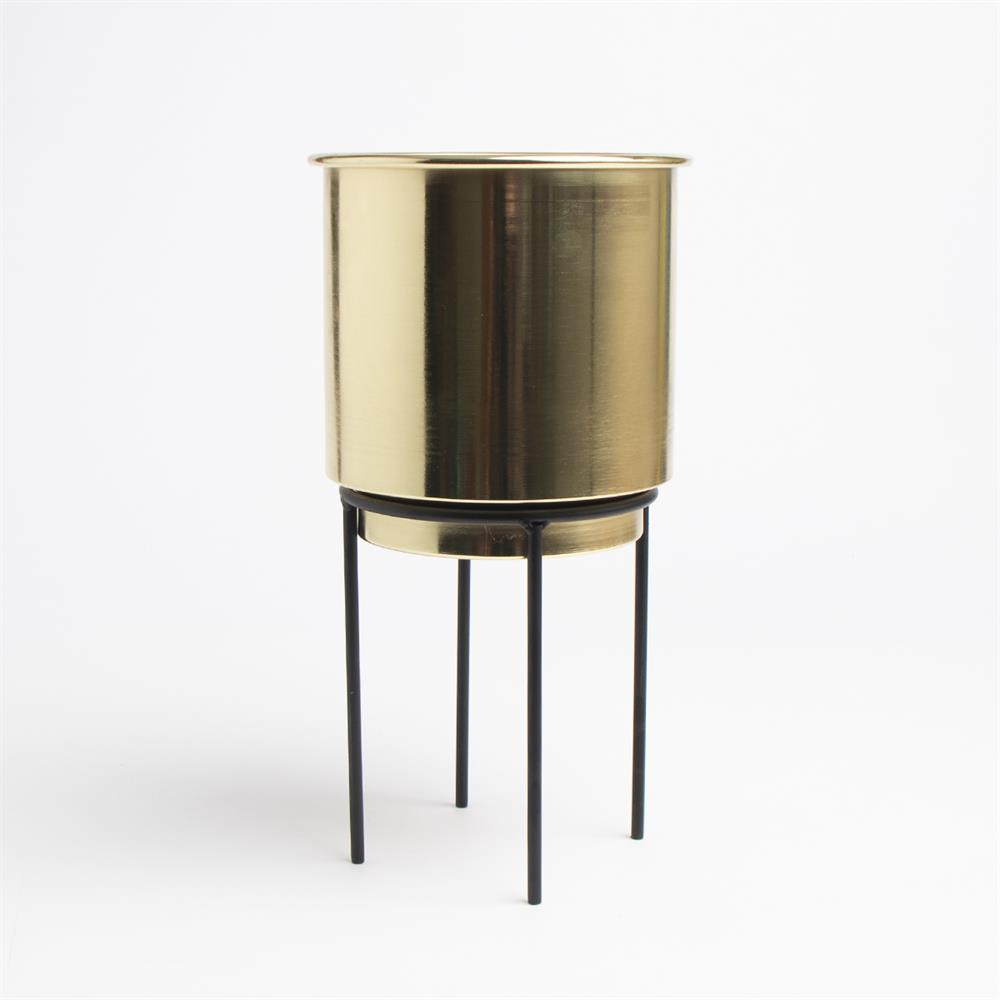 Picture of Ports Of Call by Jeff Banks: Gold Metal Plant Pot & Stand