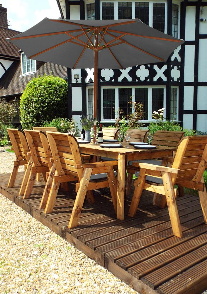 Picture of Charles Taylor Wooden Eight Seat Rectangular Garden Furniture Set with Parasol & 8 Seat Cushions