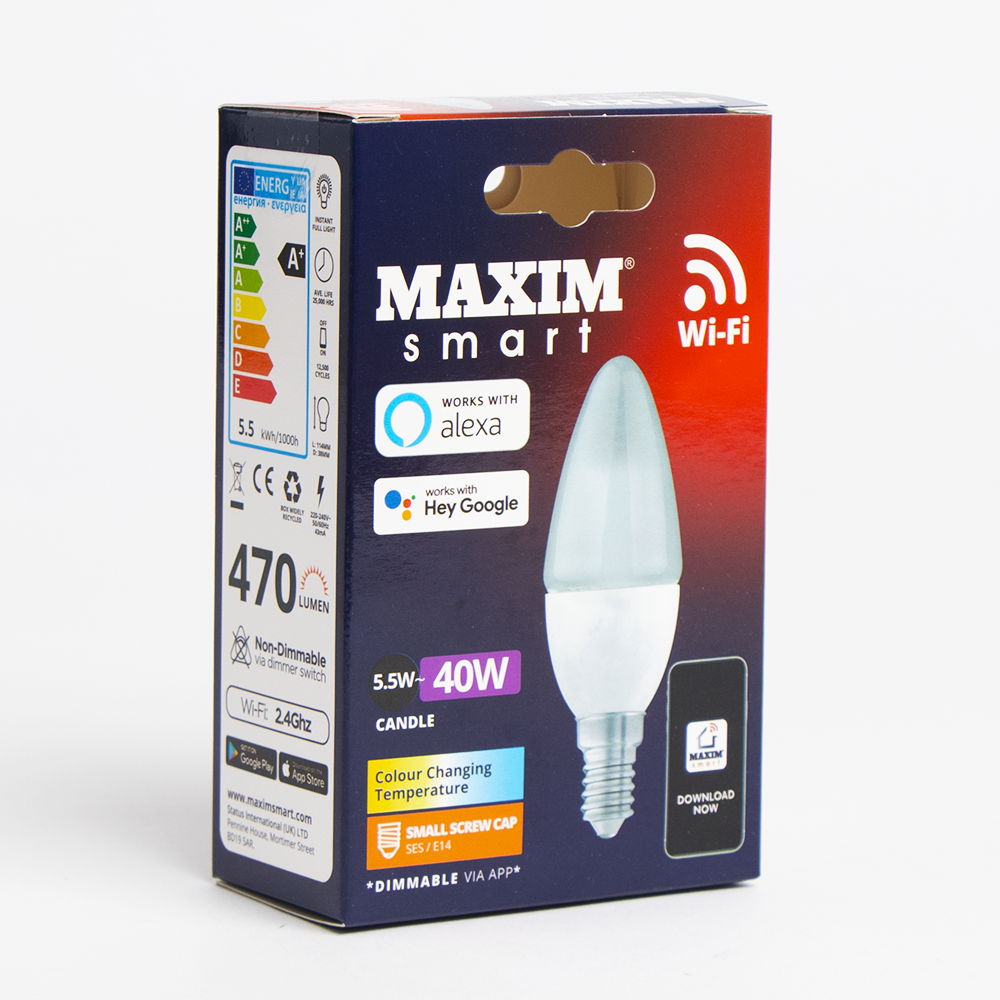 Picture of Maxim Smart Wi-Fi Bulb - 5.5W Colour Changing Candle E14 (Small Screw Cap)