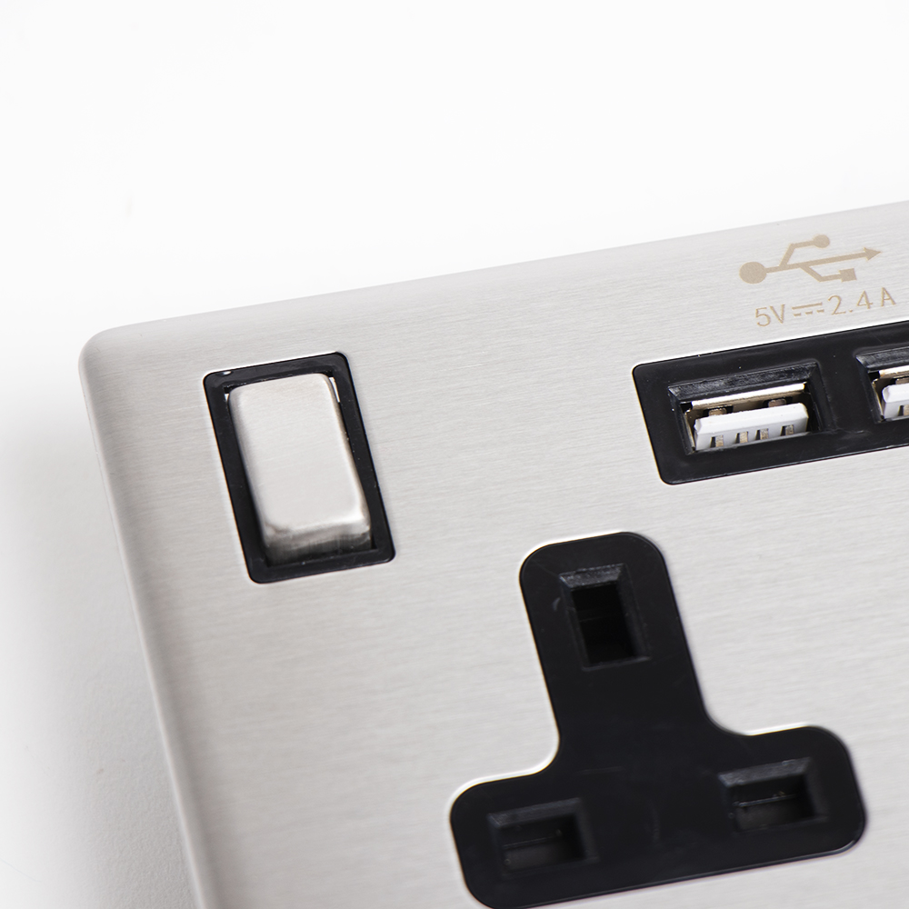 Picture of Status: 13A USB Double Socket - Stainless Steel