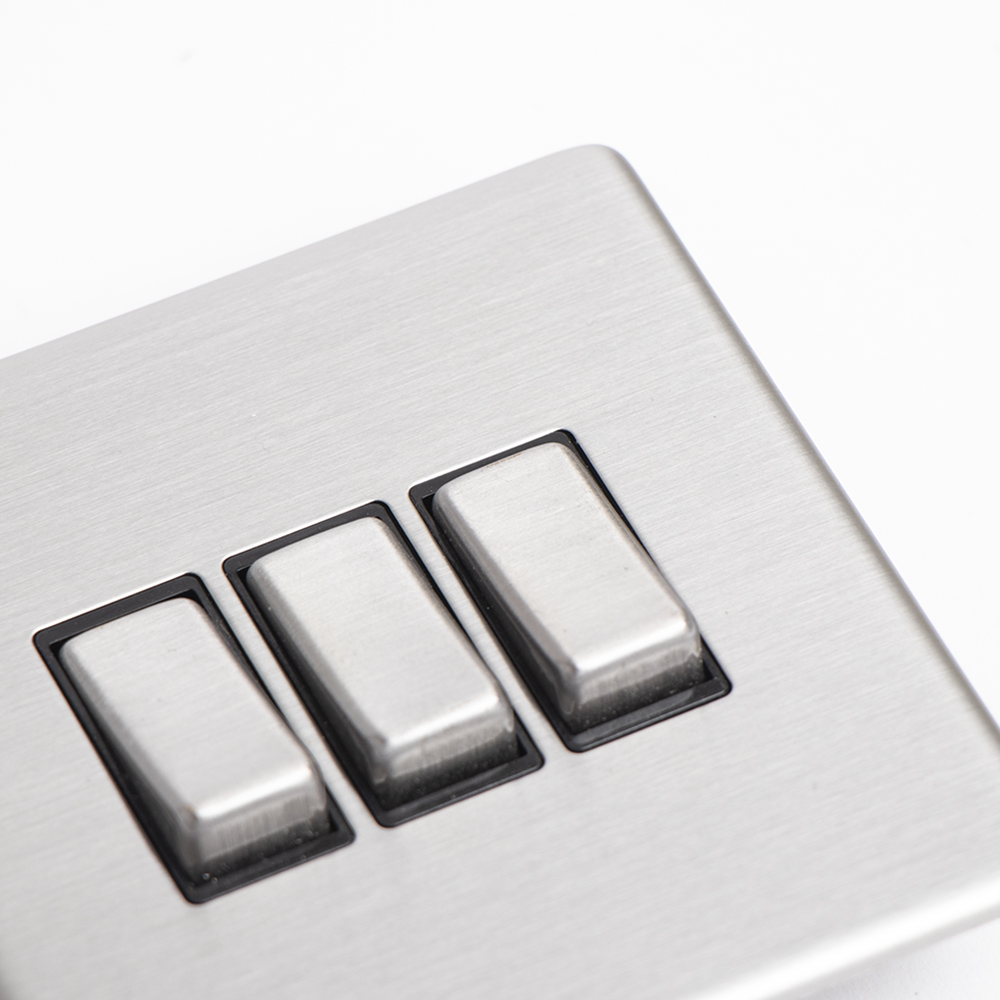 Picture of Brushed Stainless Steel Triple Switch Plate