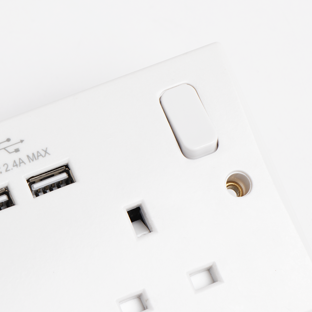 Picture of White Double Socket with USB Ports