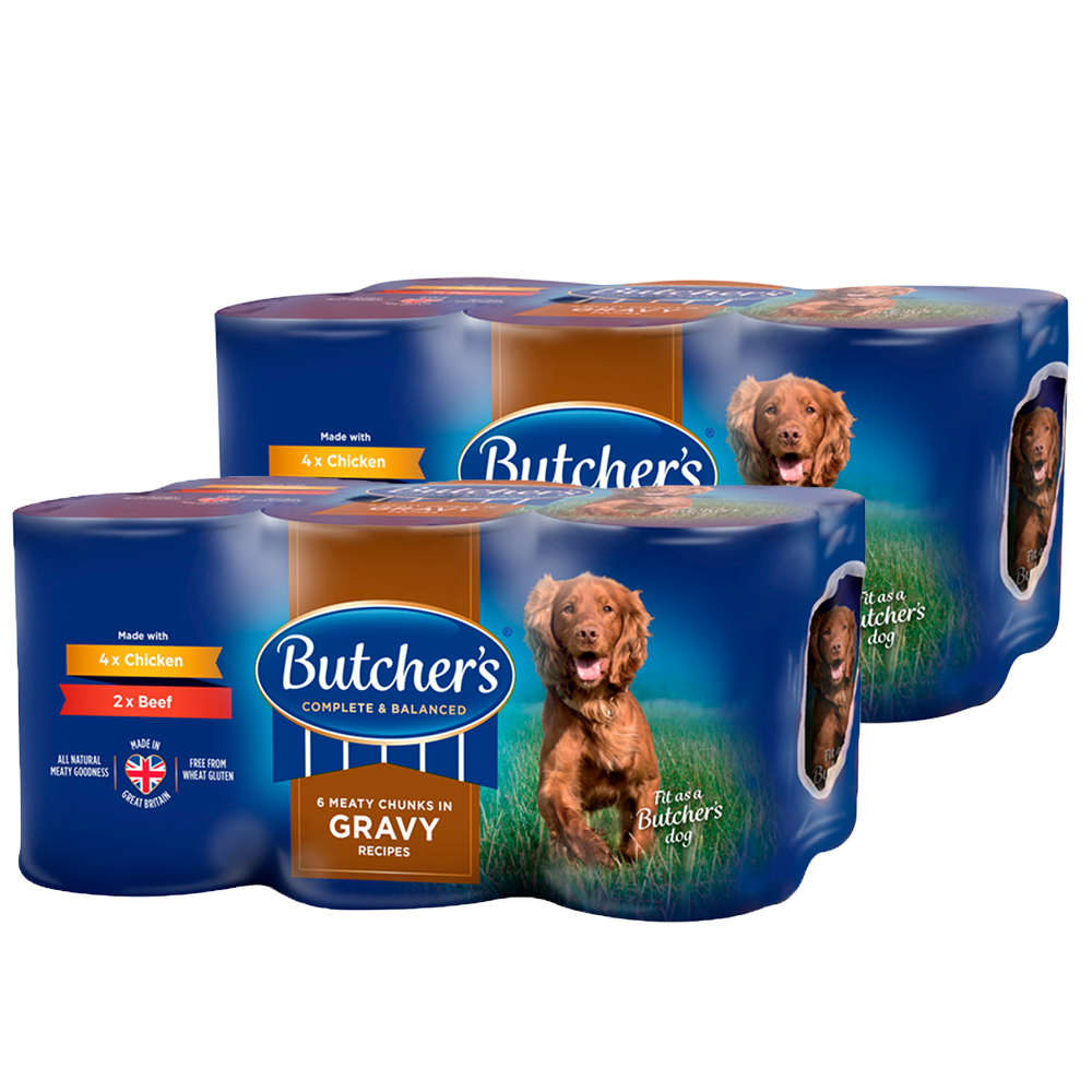 Picture of Butcher's: Chunks in Gravy Recipes Wet Dog Food Tins 6 x 400g (Case of 2)