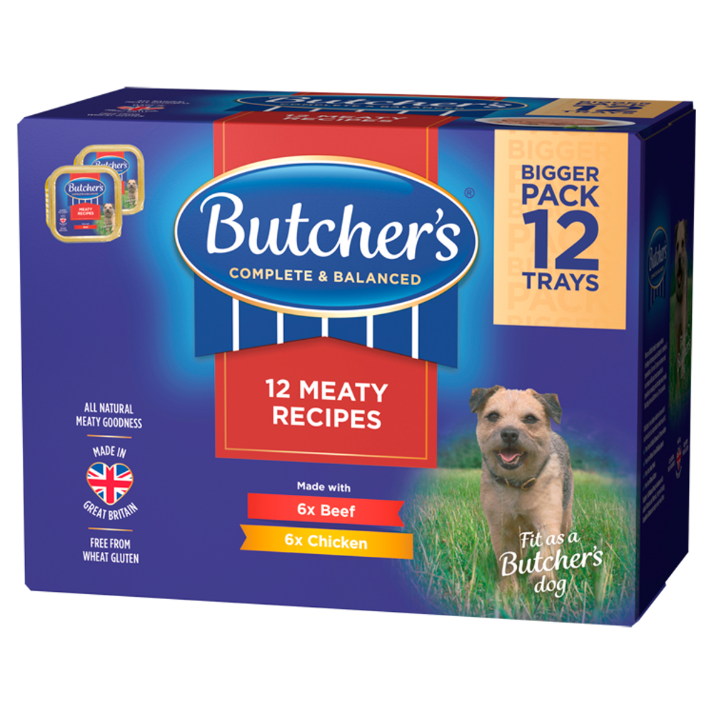 Picture of Butcher's: 12 Meaty Recipes Wet Dog Food Trays 150g