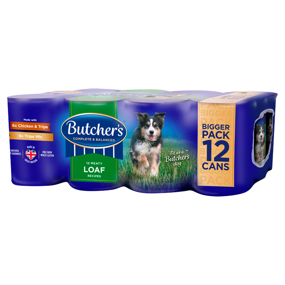 Picture of Butcher's: 12 Tripe Meaty Loaf Recipes Wet Dog Food Tins 400g