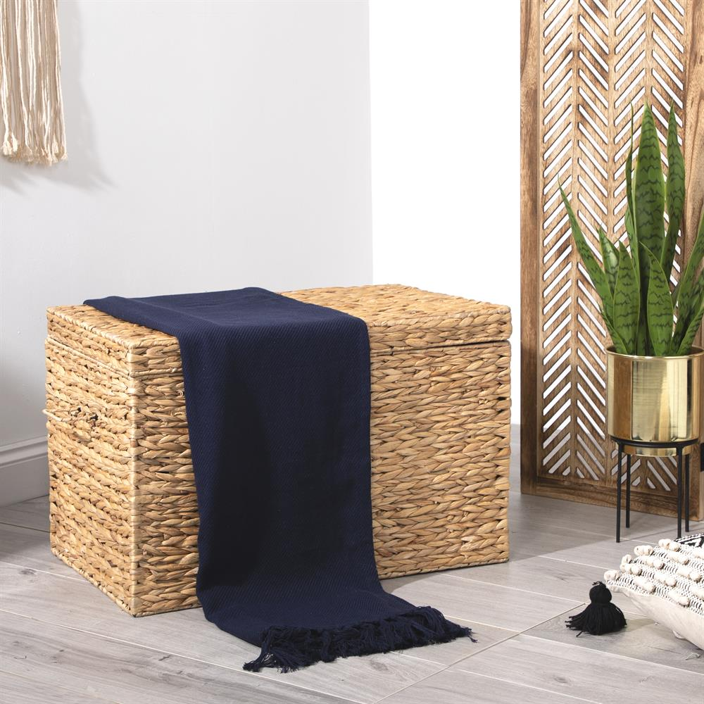 Picture of Home Collections: Cotton Throw - Navy Blue