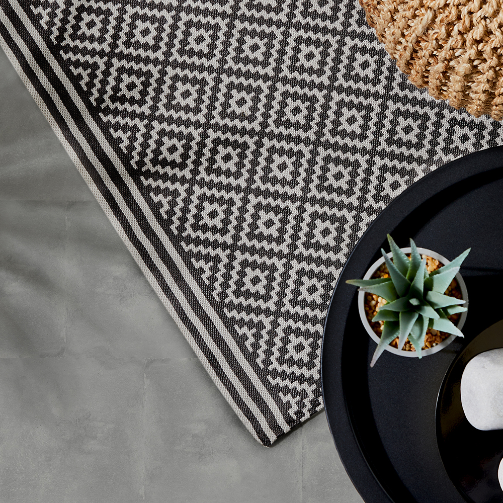 Picture of The Outdoor Living Collection Jacquard Outdoor Rug: Black