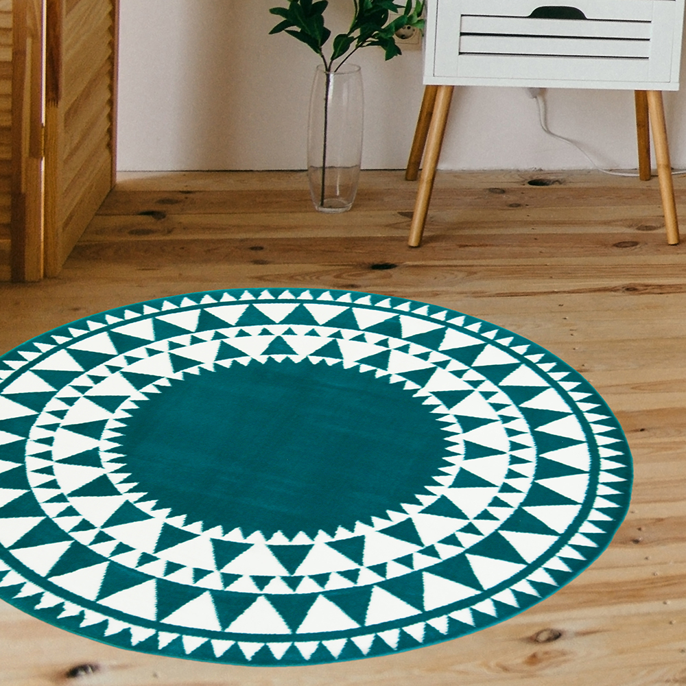 Picture of Aztec Circle Rug: Teal