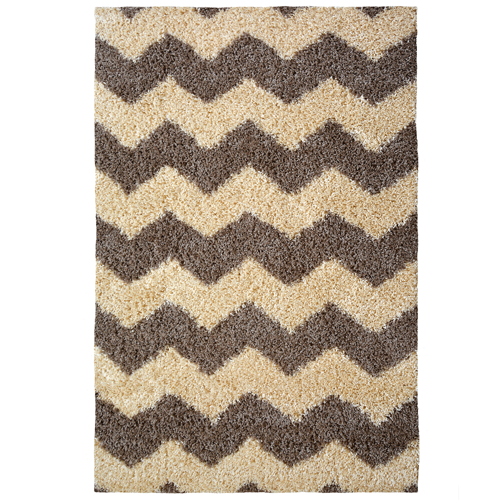 Picture of Chevron Shaggy Rug Taupe