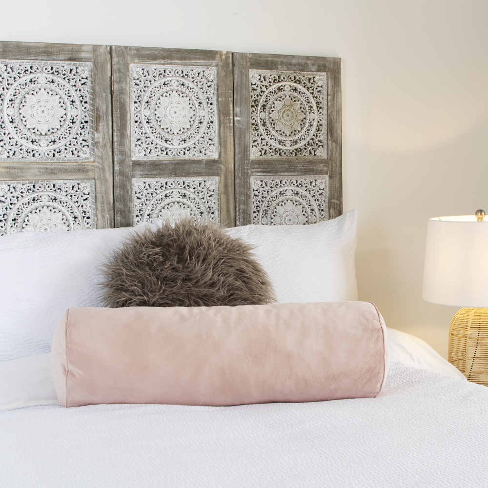 Picture of Home Collections Large Bolster Velvet Cushion: Blush Pink