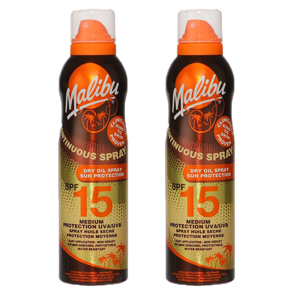 Picture of Malibu: Sun Protection Dry Oil Continuous Spray 175ml - SPF 15 (Case of 2)