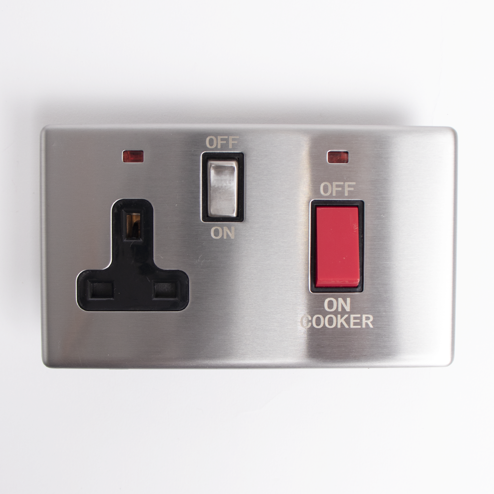 Picture of Status: 45A Cooker Switch & Single Socket - Stainless Steel