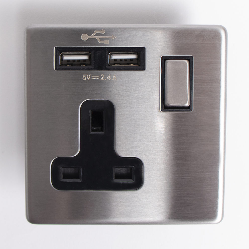 Picture of Status: 13A Dual USB Single Socket - Stainless Steel