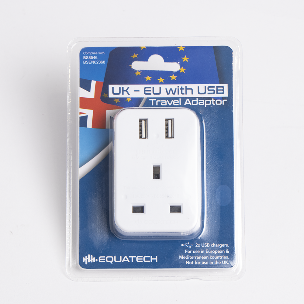 Picture of Equatech: UK-EU Travel Adaptor with USB