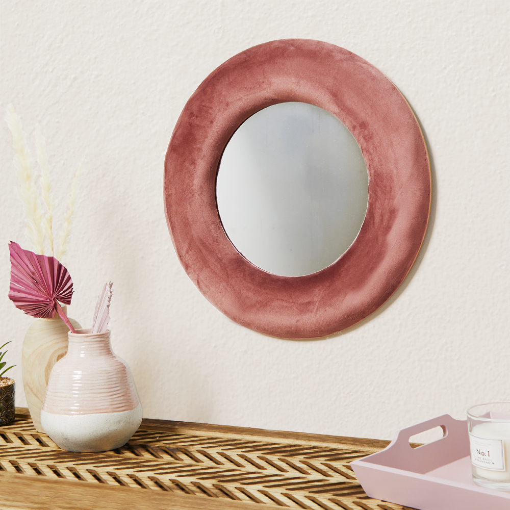 Picture of Home Collections: Velvet Round Mirror 50 x 50cm - Blush