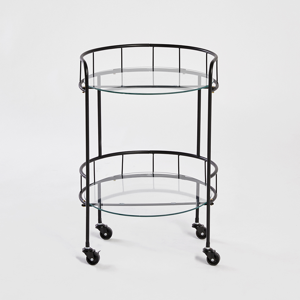 Picture of Home Collections: 2 Tier Round Drinks Trolley - Black