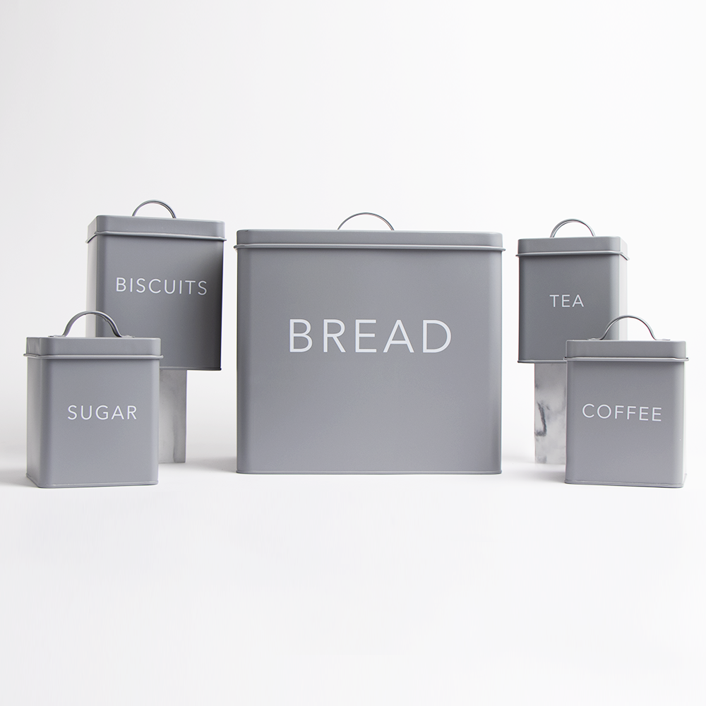Picture of Home Collections 5 Piece Kitchen Storage Set: Soft Grey