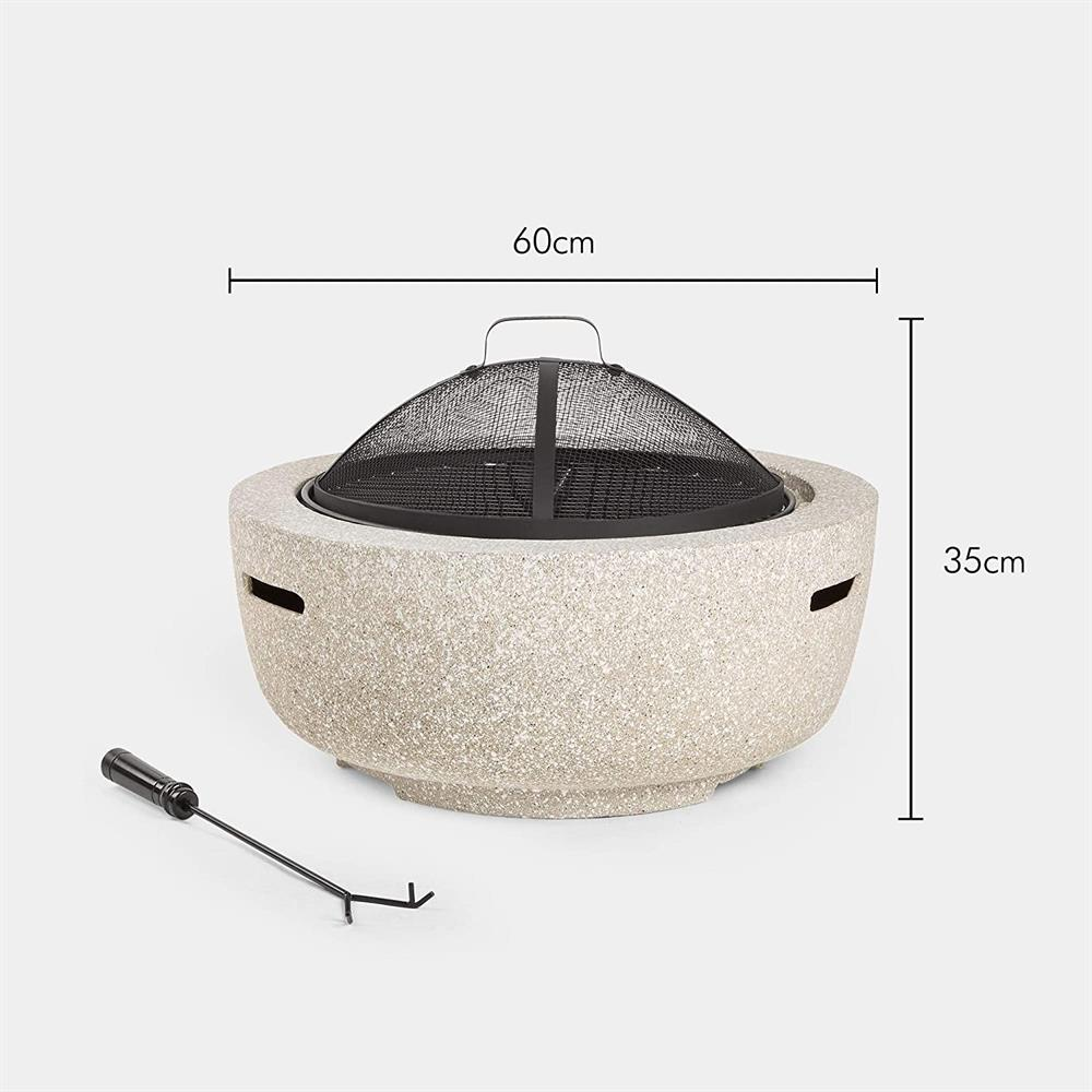 Picture of VonHaus Round MgO Fire Pit Bowl with BBQ Grill Rack, Spark Guard & Poker