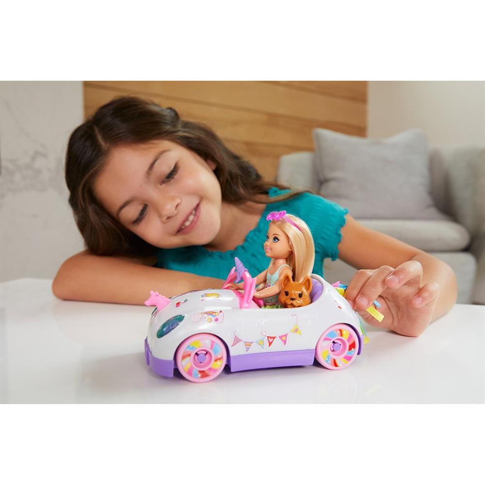 Picture of Barbie Club Chelsea Doll with Open-Top Unicorn Car & Sticker Sheet