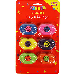 Buy Party: 6 Colourful Lip Whistles at Home Bargains
