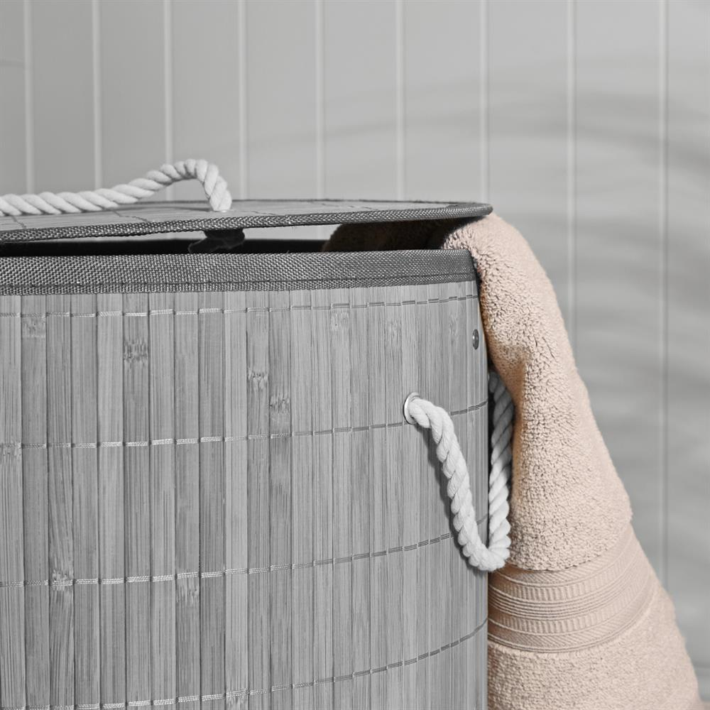 Picture of Round Bamboo Laundry Basket With Lid- Grey