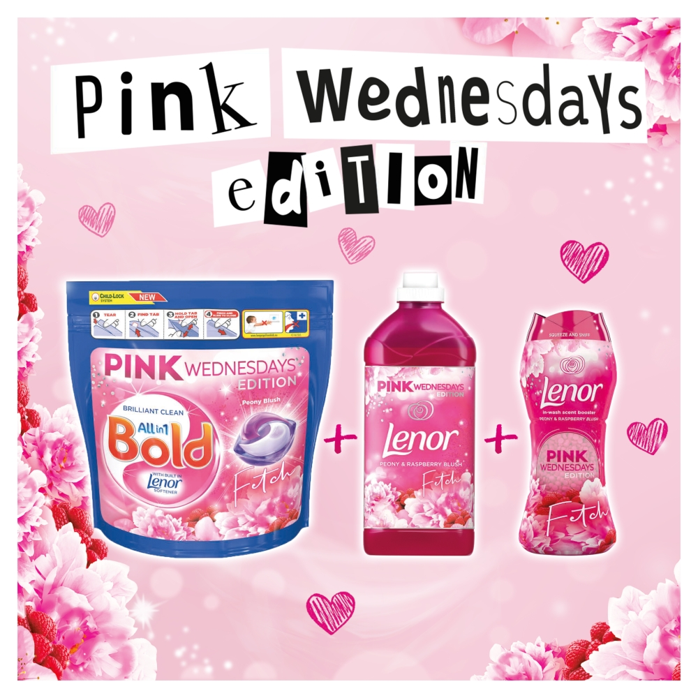 Picture of Bold All-in-1 Pods Washing Liquid Capsules Pink Wednesdays Peony Blush 45 Washes