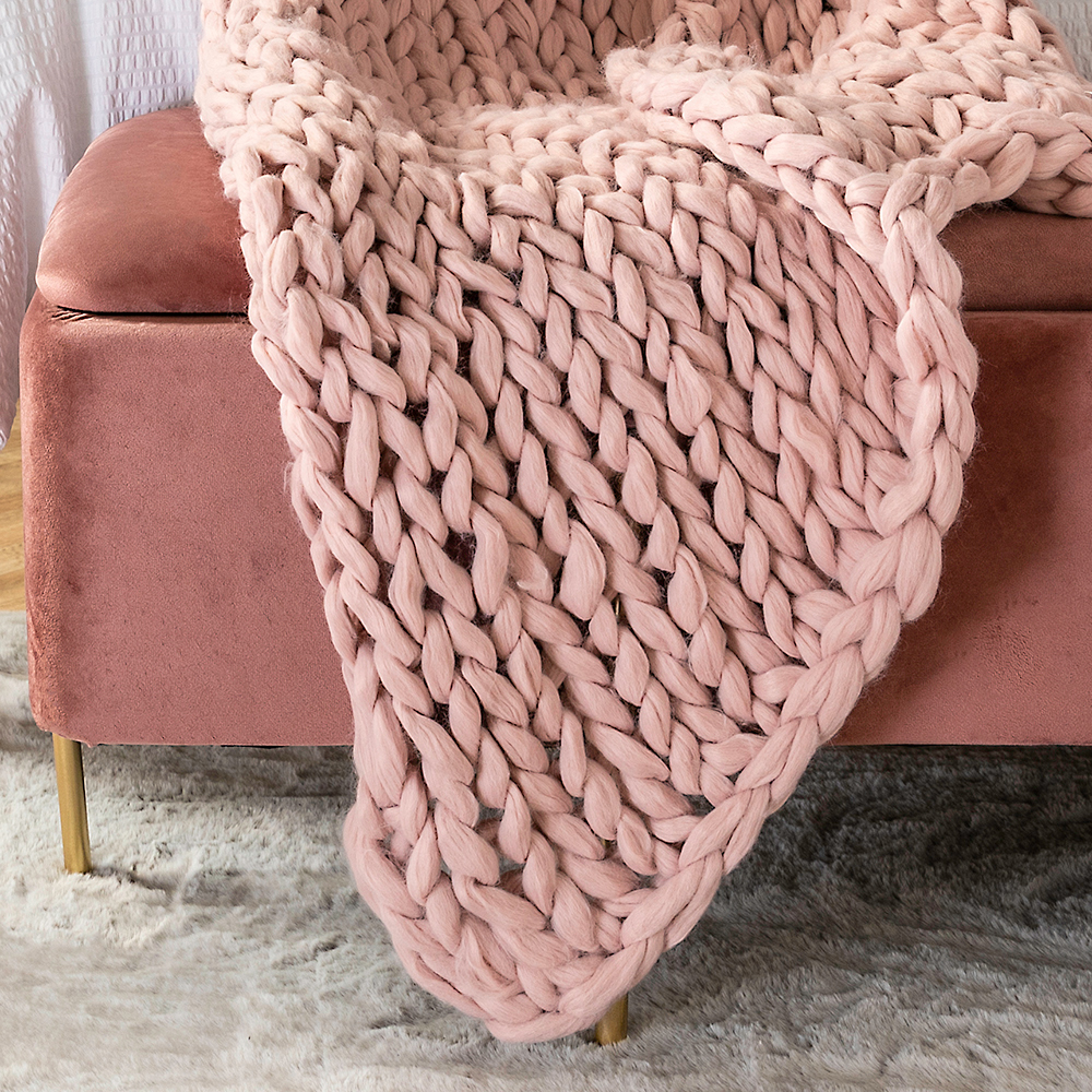 Picture of Home Collections Hand Knitted Throw Blush Pink