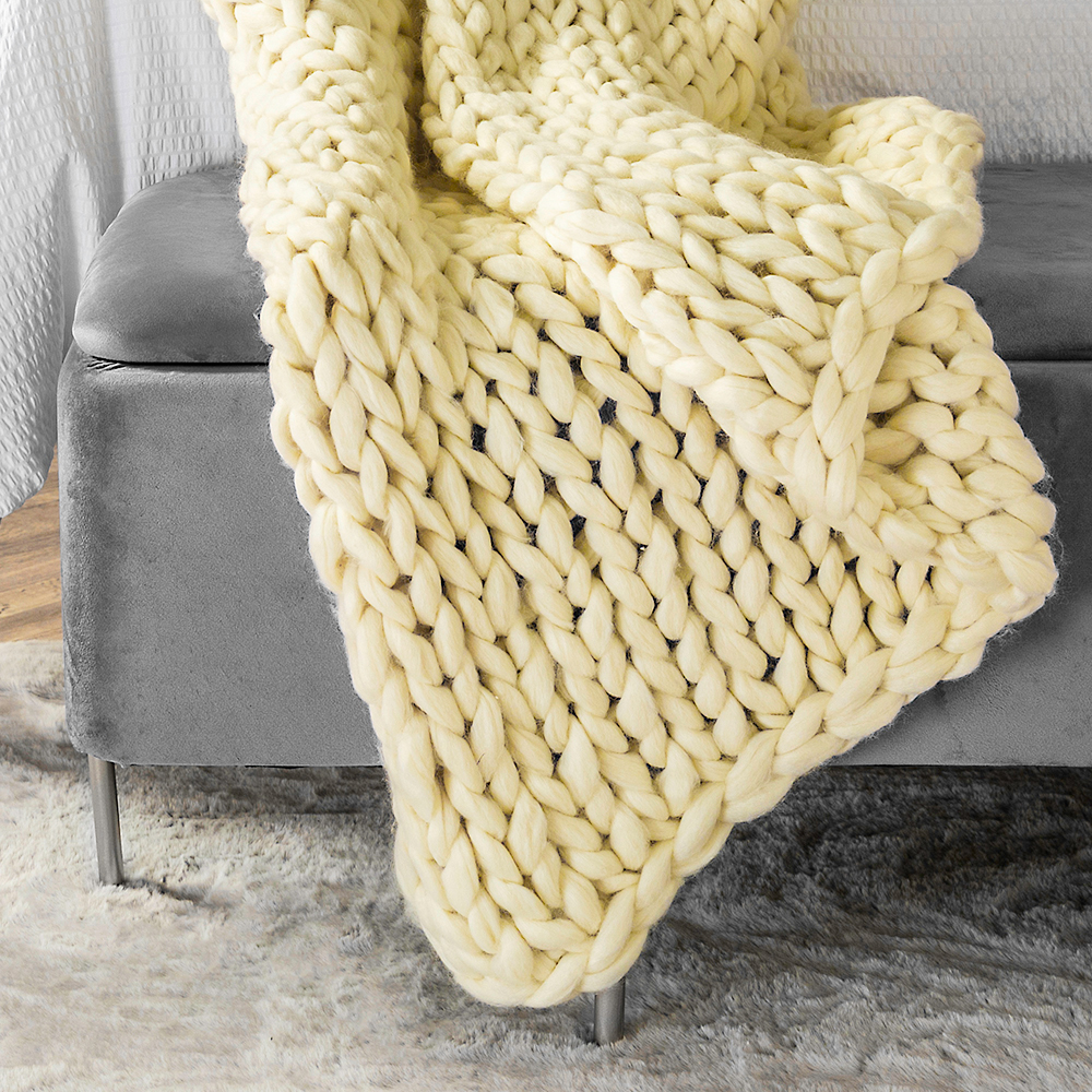 Picture of Home Collections: Hand Knitted Throw Cream