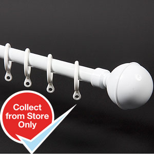 buy home style curtain pole white 1 7 3m at home bargains. Black Bedroom Furniture Sets. Home Design Ideas