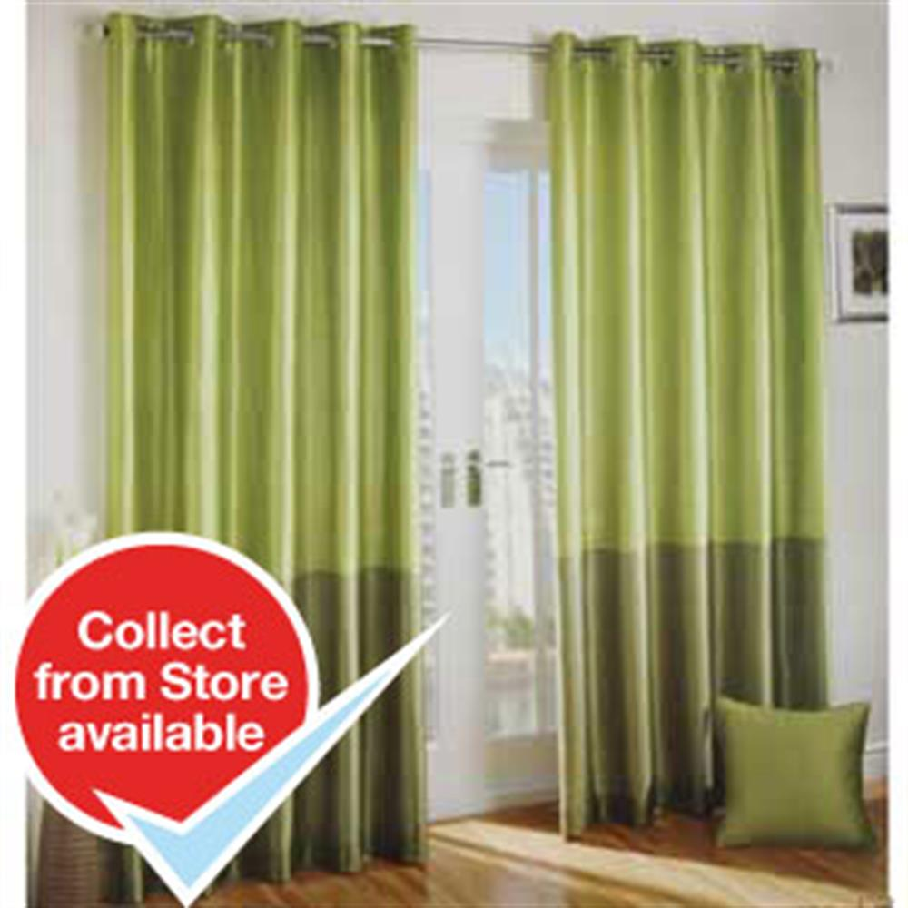 Buy Moss And Olive Faux Silk Curtains At Home Bargains